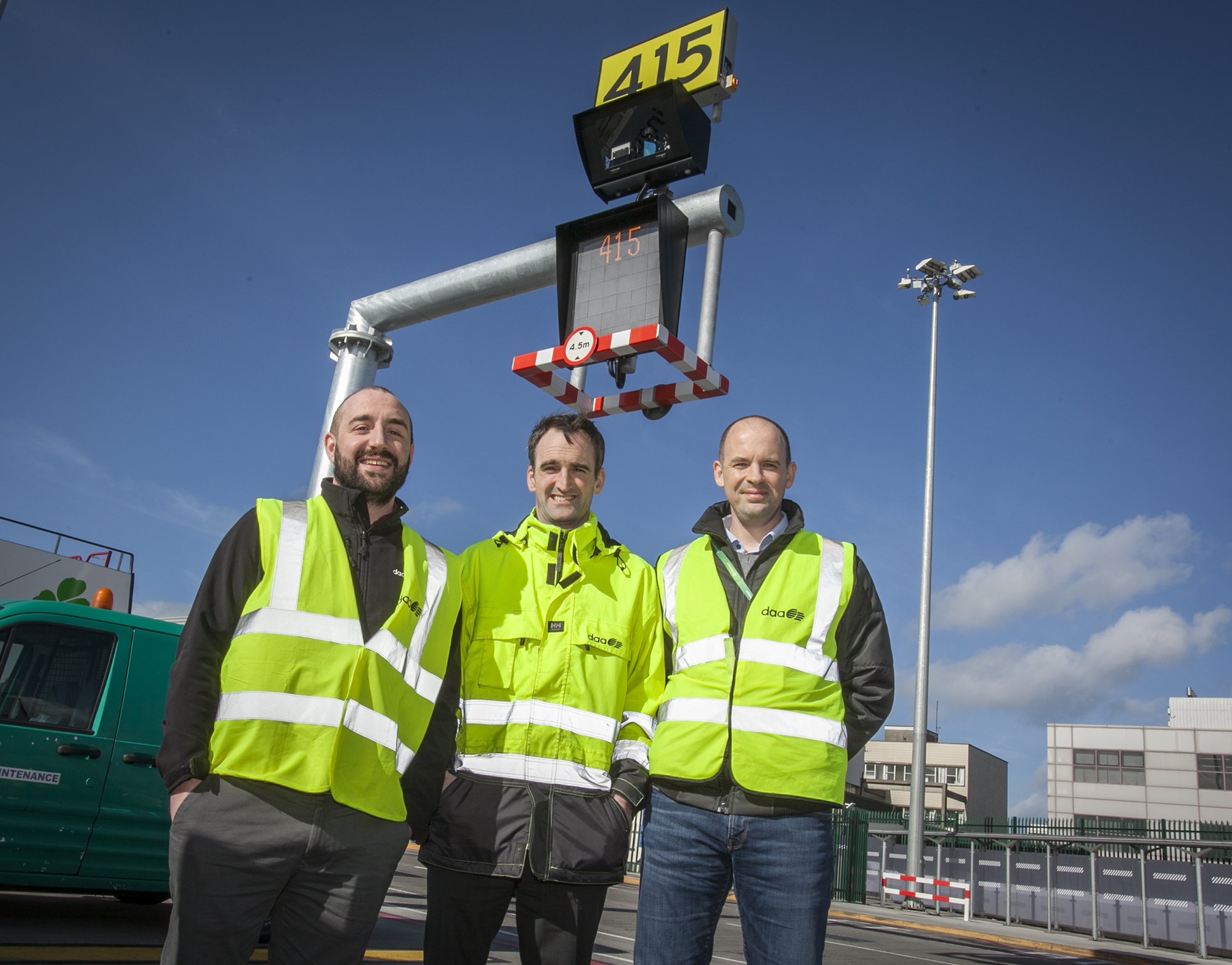 Mark O'Connor, Project Manager, Asset Management and Development Dublin Airport; Conor Carroll, Client Project Owner, Asset Care, Dublin Airport and Dan Davis, Senior Project Manager IT, Dublin Airport pictured with the new AVDGS in Dublin Airport.