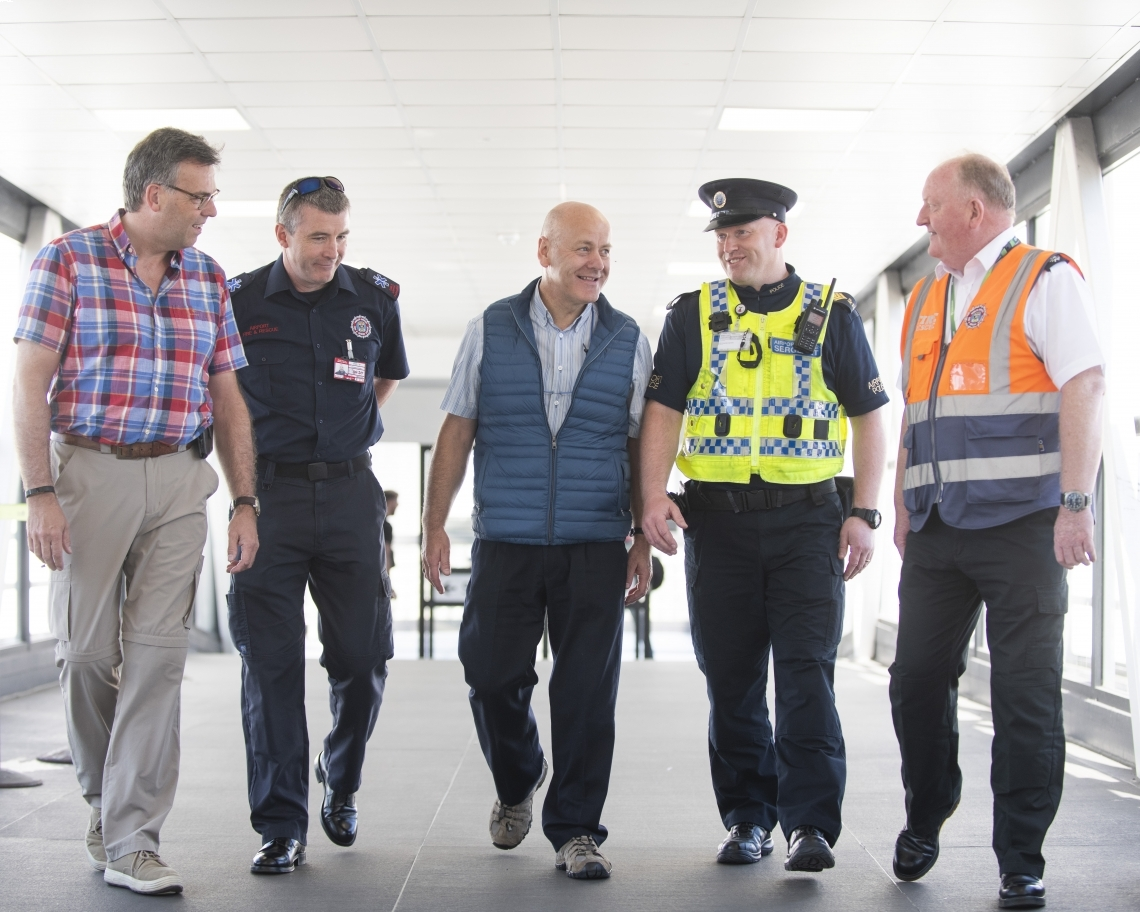 Alastair Hamilton, Brendan Conway, Dublin Airport Fire Service, David McMillan, Keith Pedreschi, Dublin Airport Police Service and Gerry Keogh, Chief Fire Officer Dublin Airport at Dublin Airport.