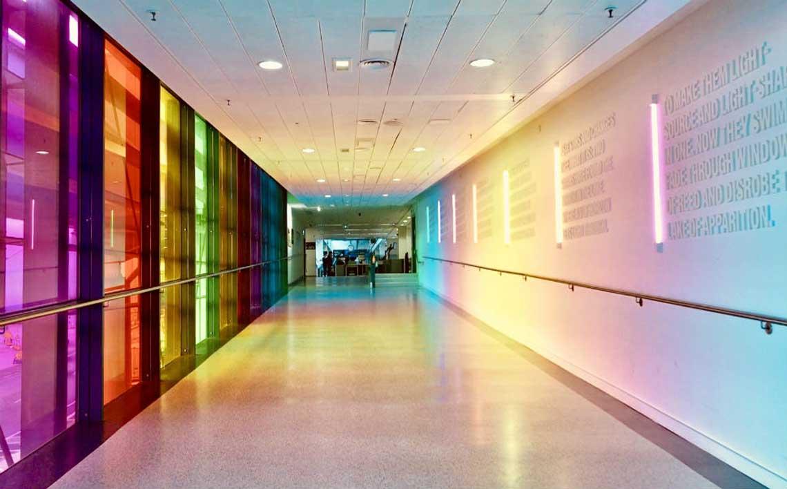 vibrant lighted walkway