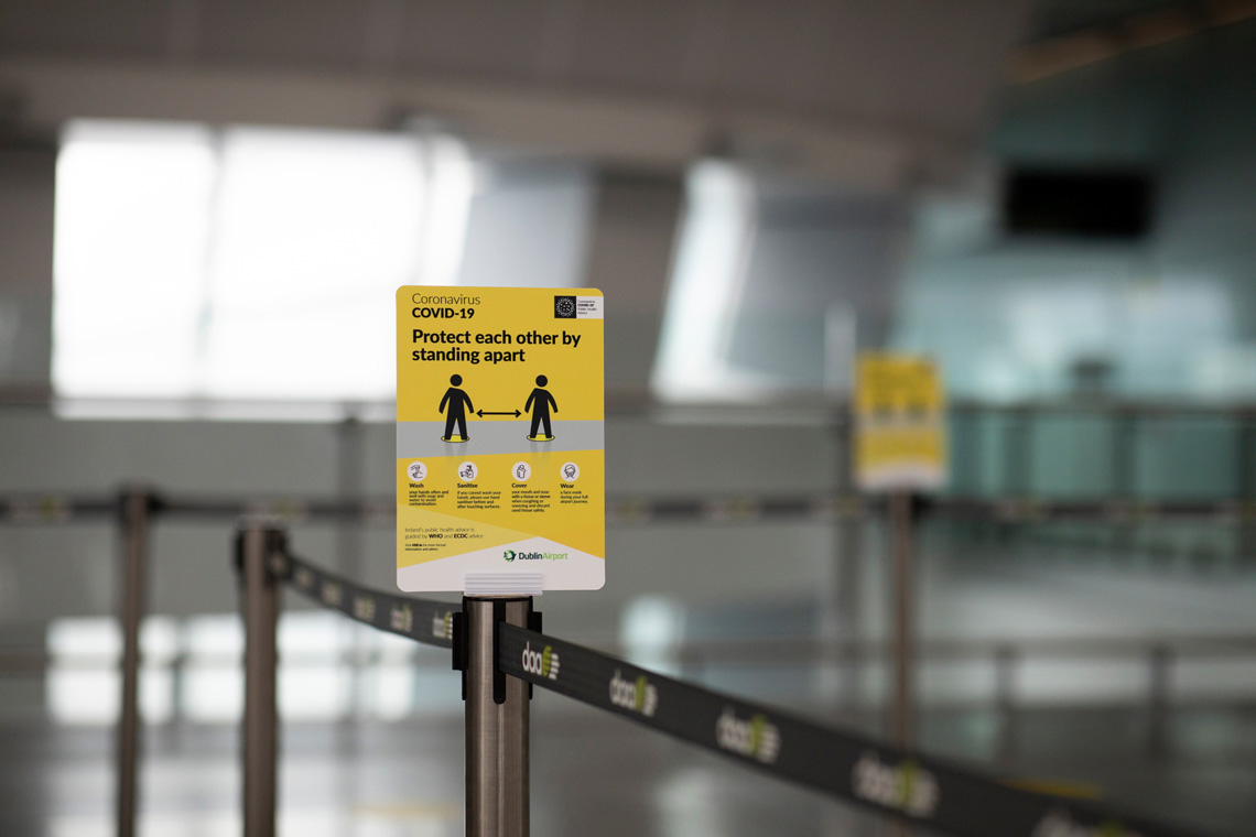 Social distancing signage at Dublin Airport