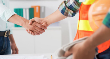 builder and man in shirt shake hands