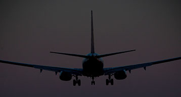plane landing at night