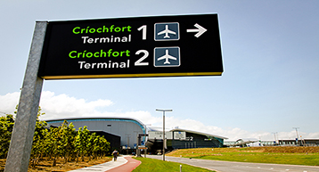 Terminal 1 and 2 directional sign