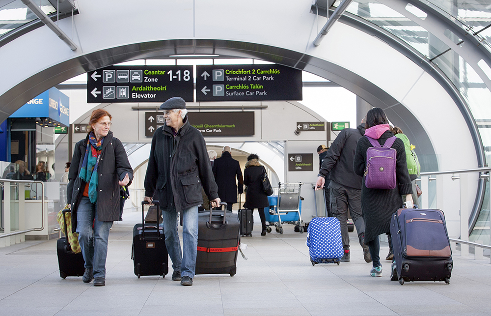 passengers in Dublin Airport arrivals