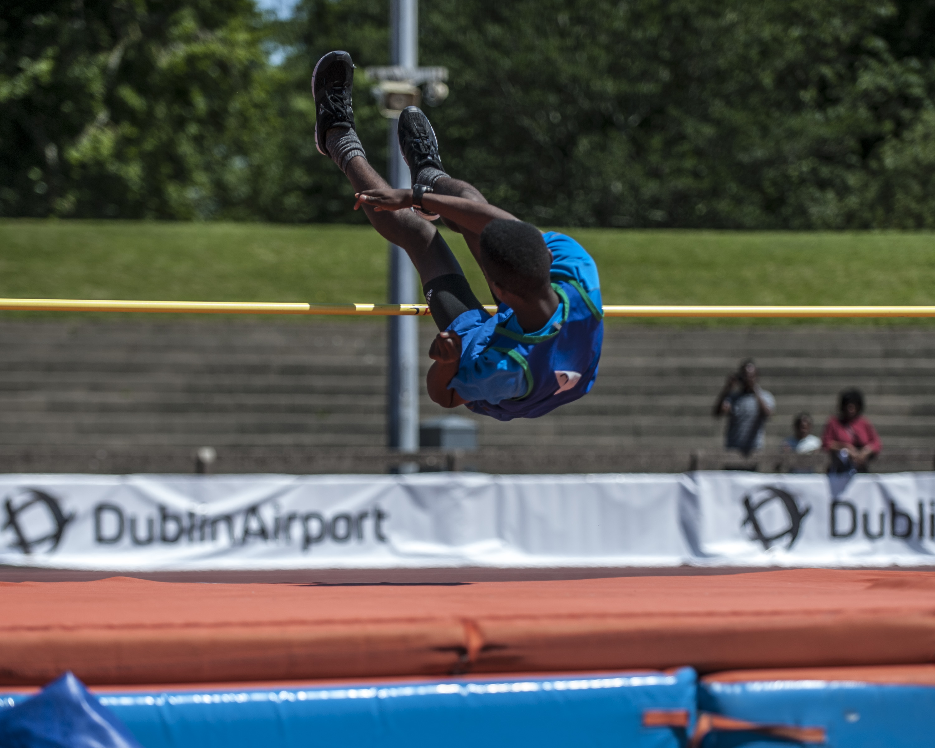 An athlete competing in the high jump in the Dublin Community Games