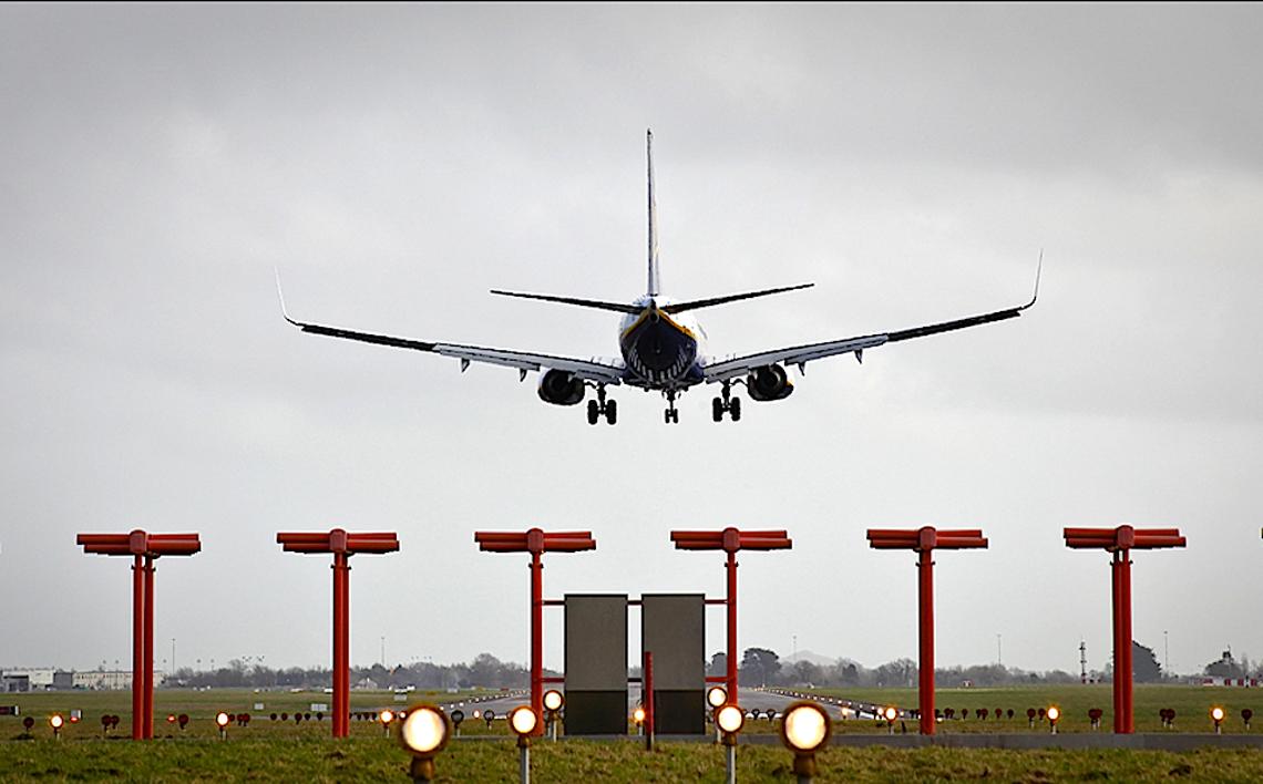 Plane landing Dublin Airport