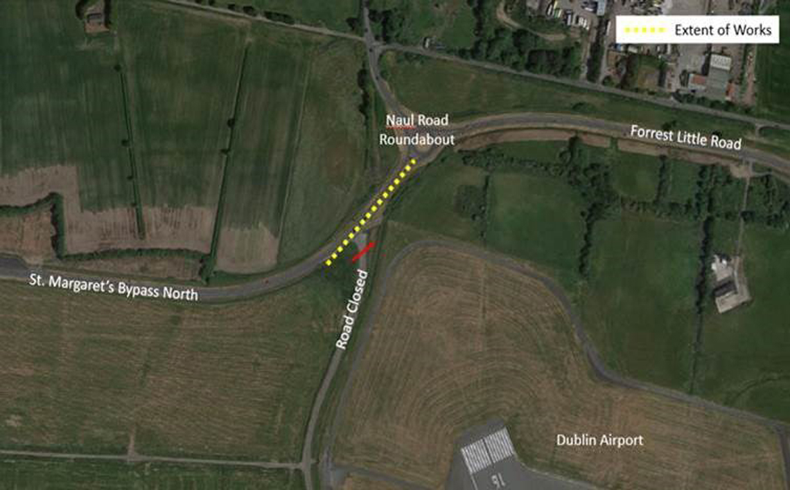 naul road roundabout roadworks aerial view map